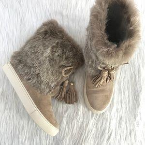 Tory Burch Anjelica Fur Tassle Boots